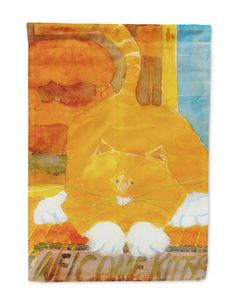 Orange Tabby Welcome Cat Flag Garden Size