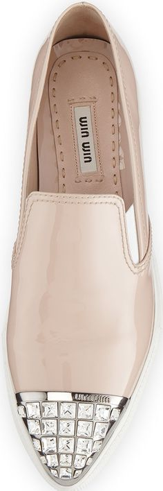 Miu Miu Patent Jewel-Toe Skate Sneaker, Powder (Cipria) | House of Beccaria~