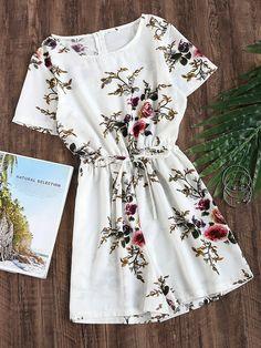 White Floral Print Round Neck Drawstring Waist Zip Back Romper