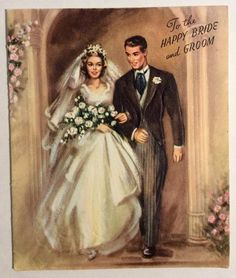 Gorgeous Bride Handsome Groom Walking out Church Vintage Wedding Greeting Card