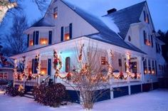 Christmas in Maine, beautiful farmhouse in the snow.  Oh that I had a wraparound deck that could look this gorgeous at Christmas time!  Sigh.