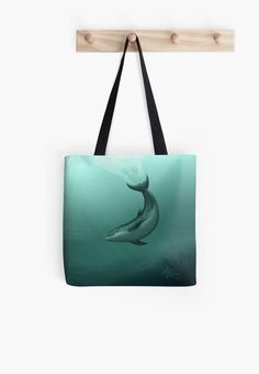 "Redbubble Totes ••• ""Siren of the Lagoon"" ~ Dolphin Art by Amber Marine ••• AmberMarineArt.com •••"