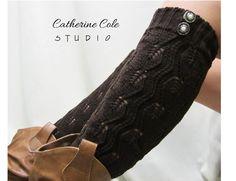 Open crochet knit leg warmers chocolate brown / womens leaf knit pattern  great w cowboy boots by Catherine Cole Studio legwarmers open work. $23.90, via Etsy.