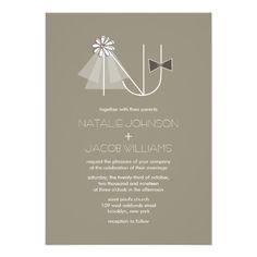 Veil & Bow Tie Monogram Custom Wedding Invitation Custom Invites