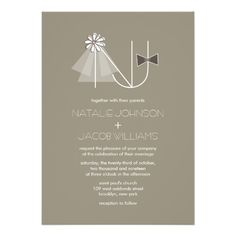 Veil & Bow Tie Monogram Custom Wedding Invitation Custom Invites