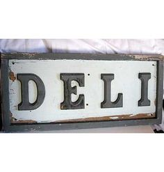 Vintage Weathered Wood DELI Store, Restaurant Sign in Old Gray Paint Colors, Indoor, Outdoor