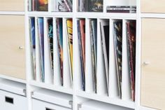 Ikea Kallax Expedit shelf Insert storage record Shelves vinyl shelf tray divider for 5 compartments Ikea Shelf Hack, Ikea Kallax Shelf, Kallax Shelving, Ikea Shelves, Vinyl Shelf, Vinyl Storage, Record Shelf, Record Storage, Record Record