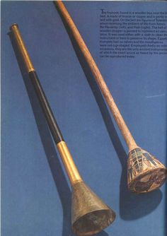 Nai - Ancient  Egyptian Musical Instrument Trumpets over 3,300 years old, discovered in the tomb of the ancient Egyptian king, Tutankhamun. These instruments are the only two surviving trumpets from ancient Egypt