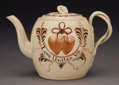 "Staffordshire teapot, the reverse ""When this you see/ Remember me/ tho many miles/ we distant be"", circa 1770 www.fairfieldauction.com"