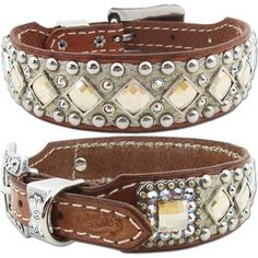 A Western leather dog collar with embossed alligator, studs and Swarovski Crystals