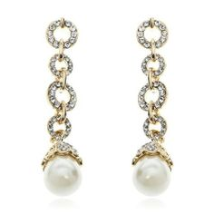 2.4 Ladies Dangling Circle Pearl Earring Clear Swarovski Crystal 18K Yellow GP Arinna. $13.98