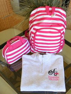 Backpack, Lunch Box & Pullover, Monogrammed , Pink Stripe by StitchedInStyle1 on Etsy