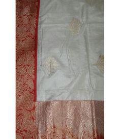 Off White Pure Handloom Banarasi Katan Silk Saree