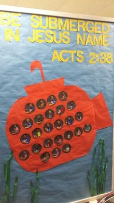 submarine - ocean bulletin board : Be submerged in Jesus name. submarine - ocean bulletin board Bible School Crafts, Bible Crafts For Kids, Sunday School Crafts, Vbs Themes, Ocean Themes, Classroom Themes, Submerged Vbs, Underwater Theme, Vbs 2016