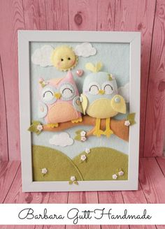 Para ptaszków / Couple of birds Baby Crafts, Felt Crafts, Diy And Crafts, Crafts For Kids, Baby Mobile Felt, Felt Baby, Felt Wreath, Felt Garland, Felt Owls