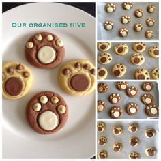 TEDDY BEAR PAW COOKIES (Makes 30)  250g Butter 1/4 cup caster sugar 2 1/2 cups Self Raising Flour 1/2 tin condensed milk 1 tbl Cocoa Chocolate melts White chocolate melts Chocolate chips White chocolate chips  1. Pre heat oven to 160 c 2. Cream butter, sugar and condensed milk. 3. Add flour and mix 4. Split mixture and add cocoa to one half 5. Roll into balls, place on lined baking tray, flatten and add chocolate melts and chocolate chips. 6. Bake for 10 - 12 minutes