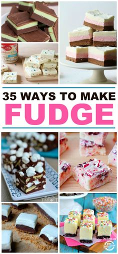 I love fudge. It is one of my favorite desserts and something we make every year during the holidays. Of course, the traditional chocolate recipe is amazing, but there are SO many more fun ways to make fudge. Here are thirty-five to get you started! Fudge Recipes, Candy Recipes, Chocolate Recipes, Sweet Recipes, Baking Recipes, Dessert Recipes, Chocolate Fudge, Chocolate Smoothies, Chocolate Roulade