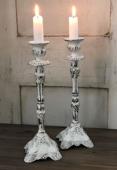 Thifted candlesticks chalk paint and wet distressed followed by wax Paint Furniture, Candlesticks, Chalk Paint, Upcycle, Wax, Candle Holders, Hand Painted, Boho, Unique