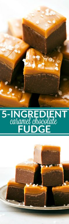 This simple caramel topped chocolate fudge is made easy with one bowl, only 5-ingredients, and all in the microwave! Recipe via chelseasmessyapron.com