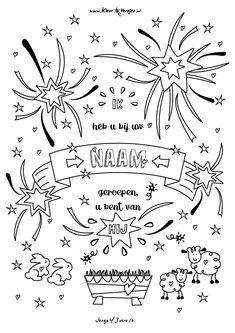 Jesaja 43 vers 1b: Ik heb u bij mijn naam geroepen en u bent van mij. Print en kleur op kleurversjes.nl Sunday School, Me Quotes, Crafts For Kids, Prints, Bible Journal, Coloring, Crafts For Toddlers, Kids Arts And Crafts