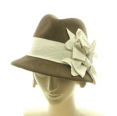 Brown Fedora Hat for Women - 1950s Vintage Style Hat - Handmade Fashion Hat - Ribbon Bows. $245.00, via Etsy.