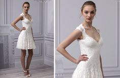 pretties little white wedding dresses spring 2013 Monique Lhuillier lace cap sleeves