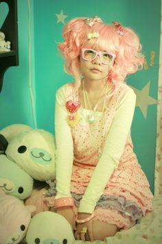Cotton Candy Wig, Sugarsweets Cupcake Necklace
