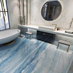 3D Blue Marble G126 Floor Wallpaper Murals Self-Adhesive Removable Kitchen Bath Floor Waterproof  fl