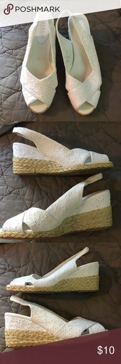 Ralph Lauren Casara eyelet wedge shoe Bought without trying on and without original box. A little short on me. I need the 10. Cute. Wedge heel with macrame style trim near sole. Passing on for another to use. Not worn but some display scuffs. I would say minimal Ralph Lauren Shoes