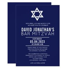 Modern Bar Mitzvah Invitation Custom Announcements - invitations personalize custom special event invitation idea style party card cards