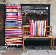 Gorgeous colourful striped fabric - can see this in a white room.