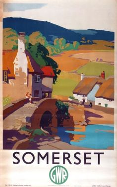 Somerset GWR Great Western Railway Sherwin, 1930s - original vintage poster by Frank Sherwin listed on AntikBar.co.uk