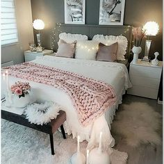 Schlafzimmer cute bedroom ideas for teen girls for small spaces that will blow your mind 22 Teen Bedroom Designs, Cute Bedroom Ideas, Cute Room Decor, Bed Ideas, Grey Bedroom Design, French Bedroom Decor, Home Decor Bedroom, Diy Bedroom, Bedroom Furniture