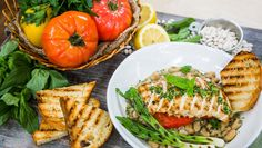 Recipes - Grilled Chicken over Cannellini Peans with Heirloom Tomatoes in Basil Pesto Broth Healthy Cooking, Healthy Eating, Healthy Recipes, Yummy Recipes, Dinner Recipes, Cooking Recipes, Basil Pesto, Heirloom Tomatoes