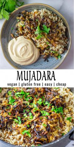 Mujadara (lentils and rice) – Simple and inexpensive: This mujadara is super easy to prepare with simple ingredients. Full – Mujadara (lentils and rice) – Simple and inexpensive: This mujadara is super easy to prepare with simple ingredients. Vegan Dinner Recipes, Indian Food Recipes, Whole Food Recipes, Diet Recipes, Cooking Recipes, Healthy Recipes, Keto Dinner, Natural Food Recipes, Vegan Indian Food