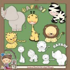 Safari 1 Clip Art & Digital Stamp Set by Alice Smith