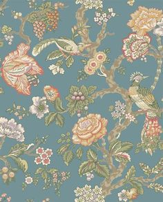 Buy the York Wallcoverings Teal / Eggshell / Tomato / Mustard / Lilac / Cocoa Direct. Shop for the York Wallcoverings Teal / Eggshell / Tomato / Mustard / Lilac / Cocoa Waverly Classics Casa Blanca Rose Wallpaper and save. Embossed Wallpaper, Bird Wallpaper, Wallpaper Samples, Fabric Wallpaper, Pattern Wallpaper, Cottage Wallpaper, Wallpaper Borders, Chinoiserie Wallpaper, Nature Wallpaper