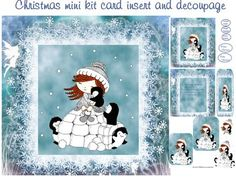 Christmas snow cuddles mini kit on Craftsuprint designed by Cynthia Berridge - Christmas snow cuddles mini kit card insert and decoupage - Now available for download!