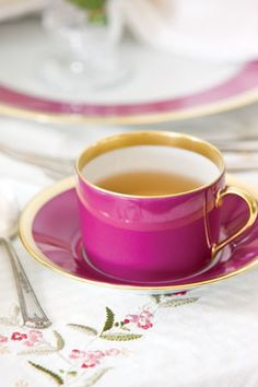 Haviland Gold Aubergine china makes a bold addition to the table.