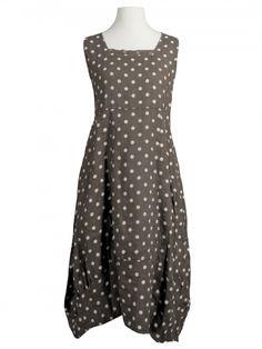 Damen Leinenkleid mit Punkten, braun von Diana bei www.meinkleidchen.de