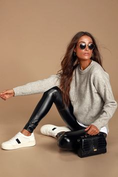 Rock out to all your favorite songs in the Rock Music Black Vegan Leather Leggings! Stretchy vegan leather leggings have a high-waisted fit and skinny pant legs. Leggings Outfit Winter, Leather Leggings Outfit, Wet Look Leggings, Legging Outfits, Tribal Leggings, Leather Outfits, Shiny Leggings, Printed Leggings, Fall Fashion Outfits