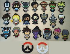 Overwatch 2D Pixel Hama Beads Wall Art Logo Characters