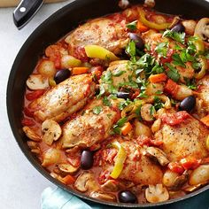 Chicken Cacciatore Fresh mushrooms, minced garlic, and sweet peppers bring immense flavor to this all-in-one meal. Add a sprinkling of parsley and bold Kalamata olives before serving to make this chicken dish even more special