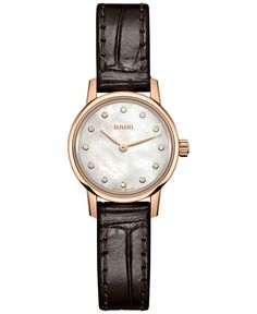 Rado Women's Swiss Coupole Classic Diamond Accent Dark Brown Leather Strap Watch 21mm R22891915