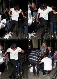 He accidentally tripped over a puppy, so he bent down and apologized and played with it. DON'T YOU DARE CALL HIM A WOMANIZER AGAIN HE IS A FREAKIN ADORABLE ANGEL.