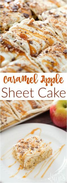 This Caramel Apple Sheet Cake recipe is gorgeous to look at, with a beautiful golden swirl running all across the top. A true fall favorite. Fall Dessert Recipes, Apple Desserts, Apple Recipes, Thanksgiving Recipes, Easy Desserts, Fall Recipes, Delicious Desserts, Yummy Food, Summer Desserts