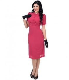 Go on - flaunt your figure, darling! A vivacious frock in a vivid pink throughout, structured in a superb forties silhou...Price - $88.00-as5Pc1Id