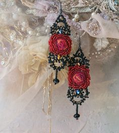 Flamenco II  hand embroidered and beaded earrings with by bonheur
