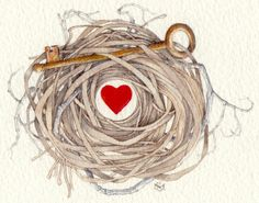 key to my heart watercolor love nest painting by atticEditions, $85.00