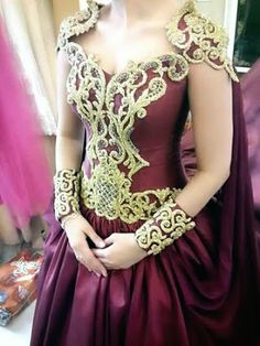 Wine Red and Gold Fantasy Gown
